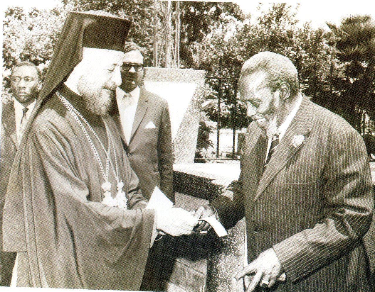 Archbishop Markarios giving Mzee Kenyatta a Donation